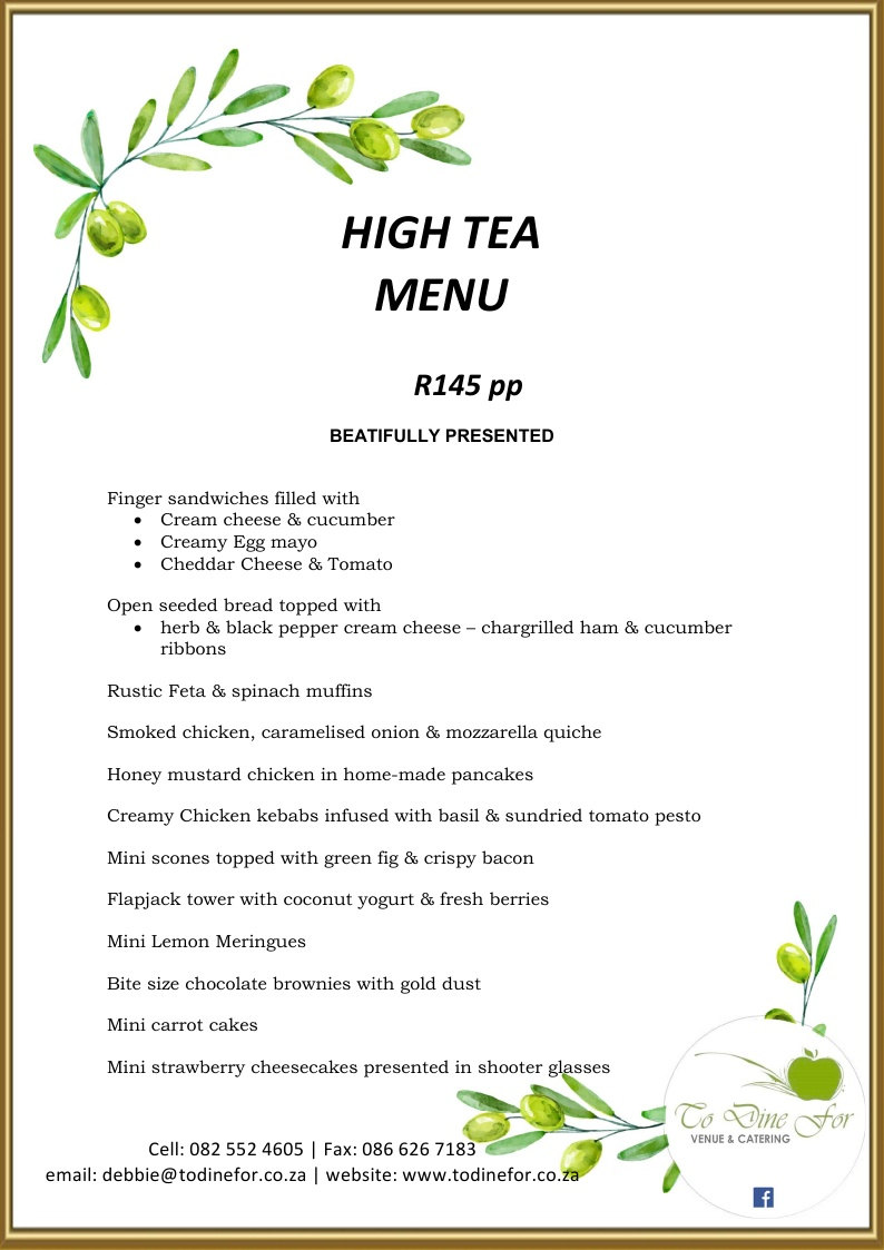 To Dine For at Little Walmer - High Tea Menu