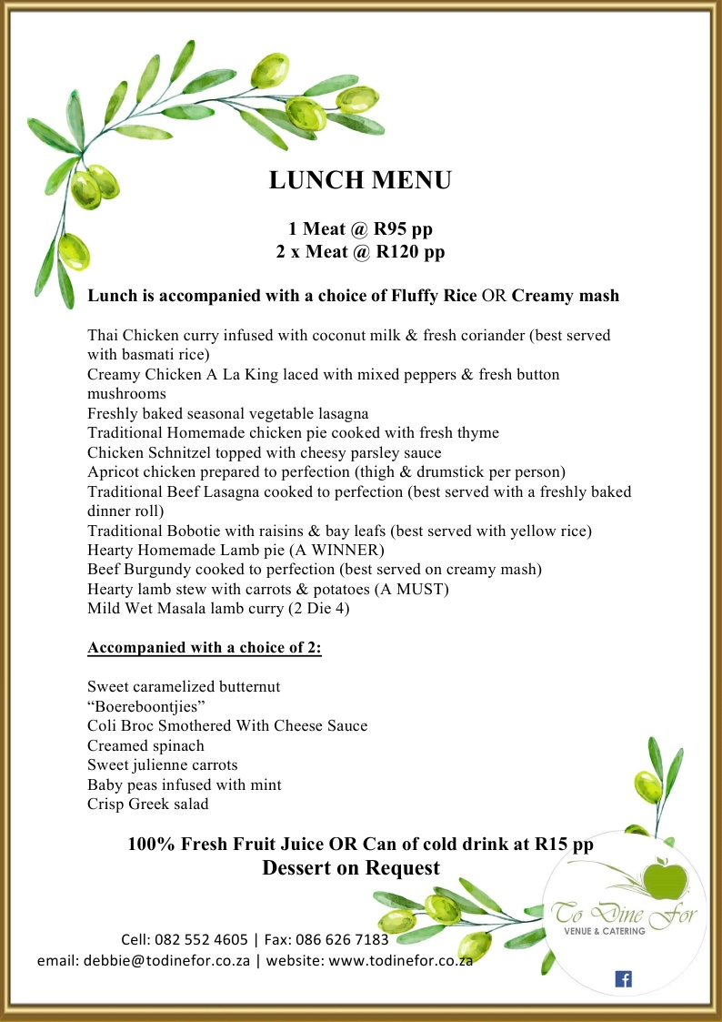 To Dine For at Little Walmer - Lunch Menu